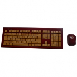 Wireless Hand-Carved Designer Bamboo Keyboard and Mouse